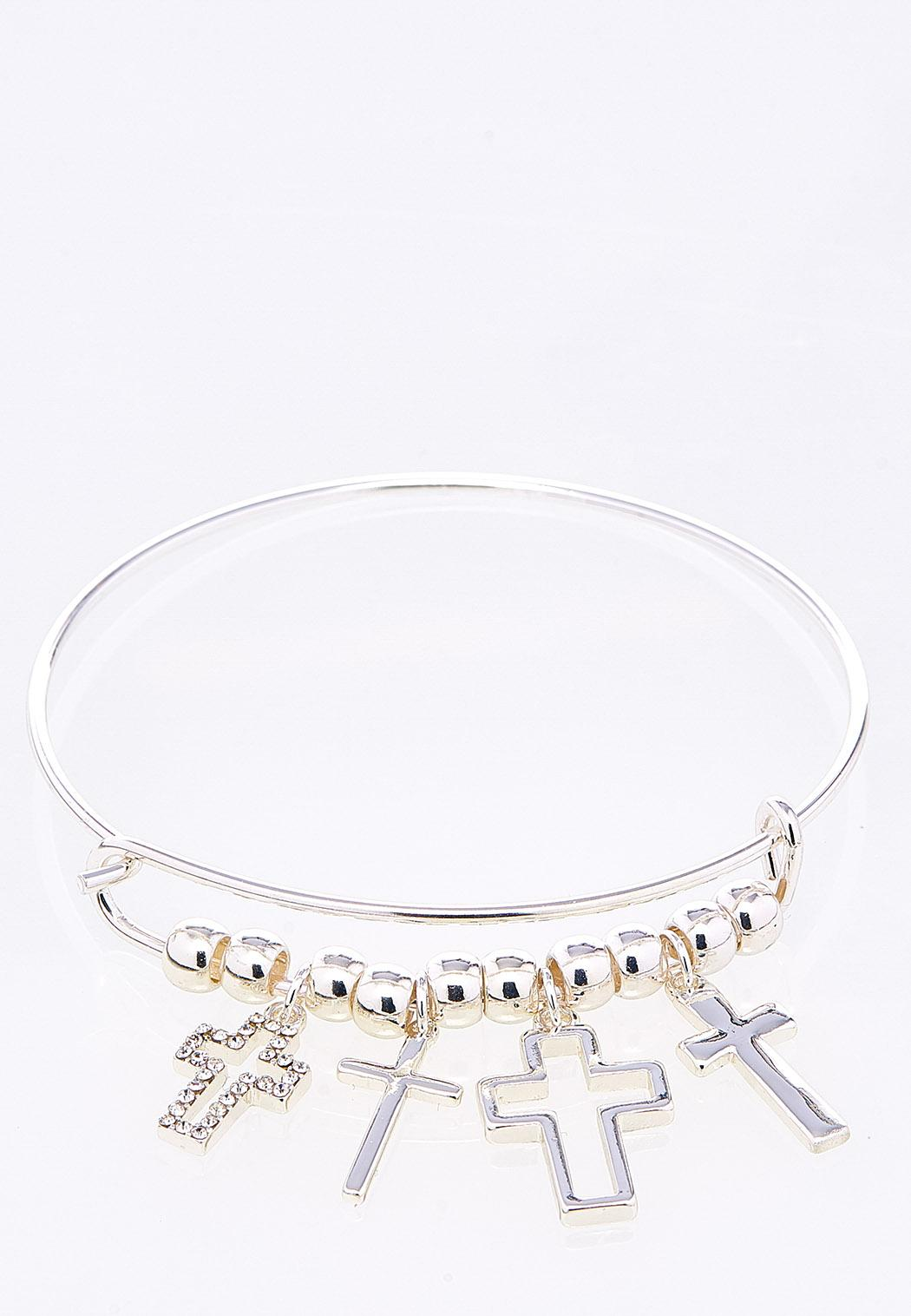 Bead And Cross Charm Bracelet