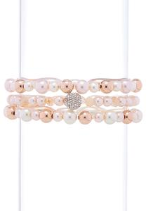 Pave Pearl Stretch Bracelet Set