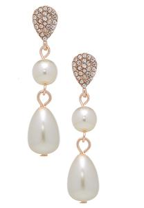 Dangle Pave And Pearl Earrings