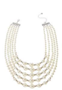 Multi Row Pearl Bib Necklace