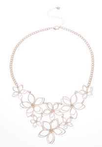 Wire Flower Bib Necklace