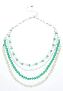 Layered Mist Green Bead Necklace