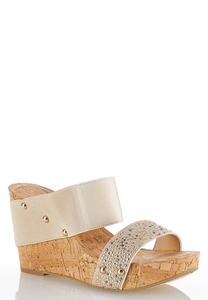 Embellished Strap Platform Wedges
