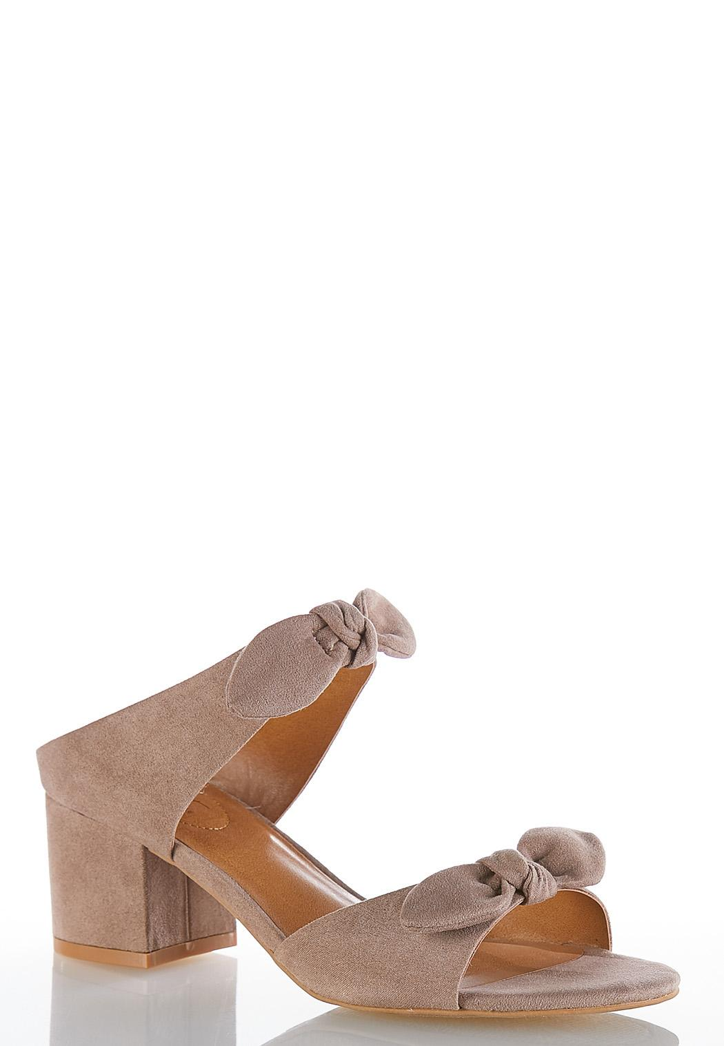 46b1dfd64208 Wide Width Faux Suede Bow Mules Heels Cato Fashions