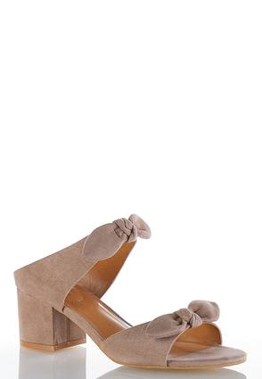 Wide Width Faux Suede Bow Mules
