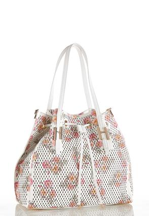 Floral Perforated Bucket Bag