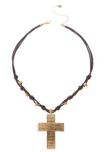 Cross Pendant Cord Necklace
