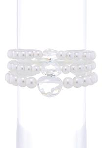 Clear Stone Pearl Stretch Bracelet Set