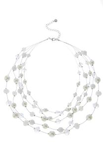 Rondelle Pearl Layered Illusion Necklace