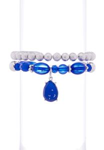 Tear Charm Stretch Bracelet Set