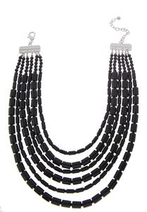 Cylinder Bead Bib Necklace
