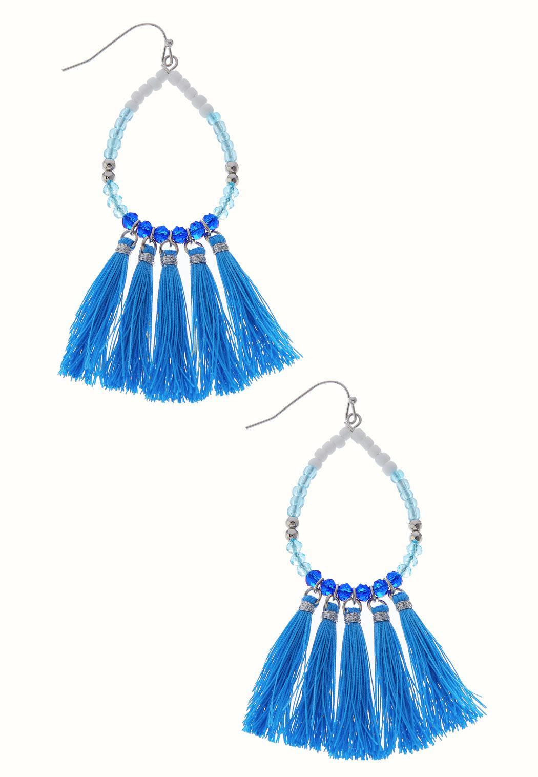 Tear Hoop Tassel Earrings