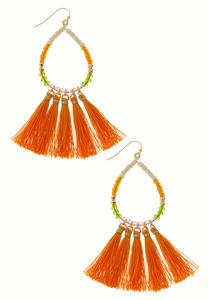 Tear Hoop Tassel Earrings