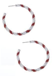 Enamel Striped Hoop Earrings