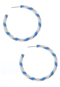 Enamel Striped Hoop Earrings