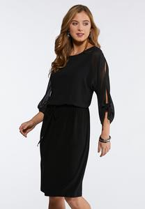 Plus Size Tie Slit Blouson Sleeve Dress