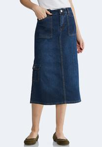 Plus Size Cargo Denim Skirt