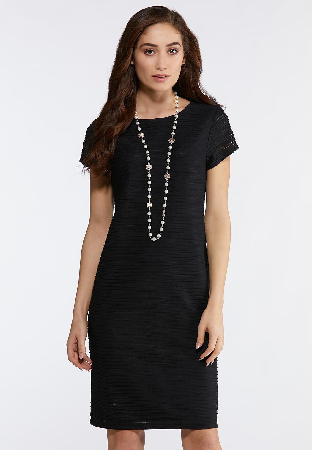 Plus Size Solid Textured Midi Dress Midi Cato Fashions