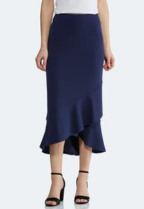 Plus Size Ruffled Hem Skirt