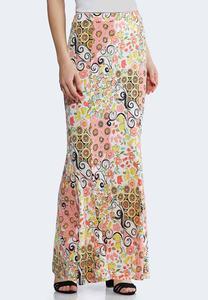 Spring Floral Mermaid Maxi Skirt