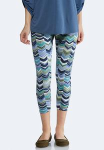 Cropped Blue Chevron Leggings
