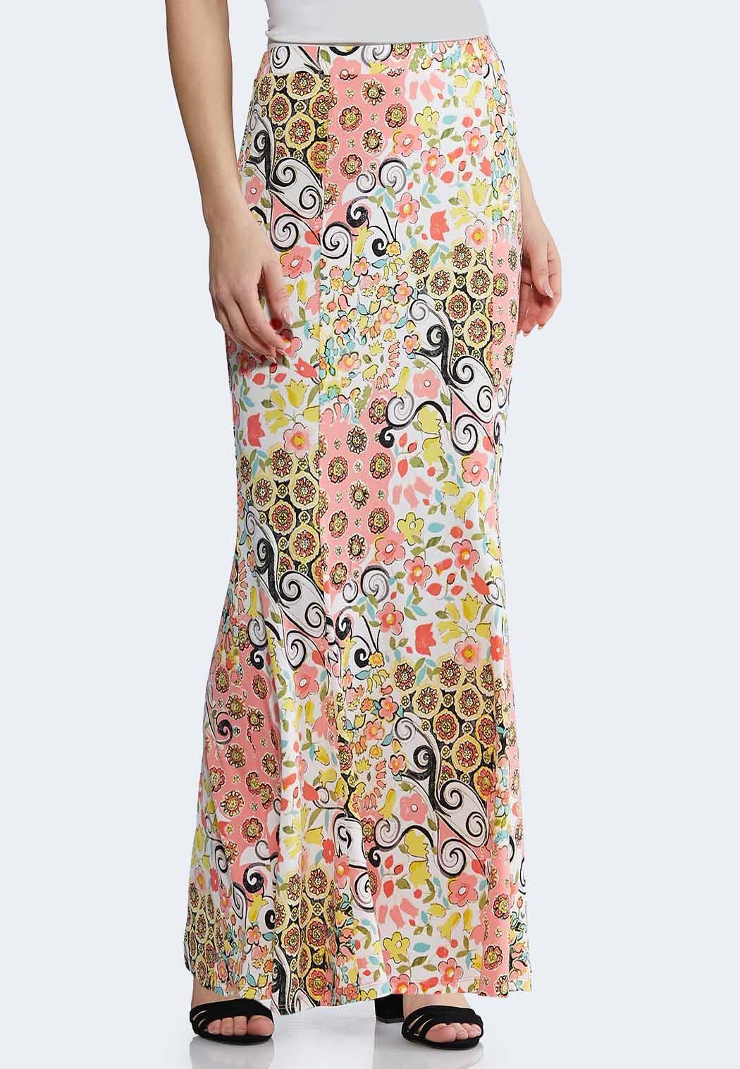 6fa43cd13b8 Plus Size Spring Floral Mermaid Maxi Skirt Maxi Cato Fashions