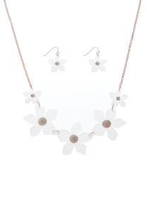 Lucite Flower Necklace Set