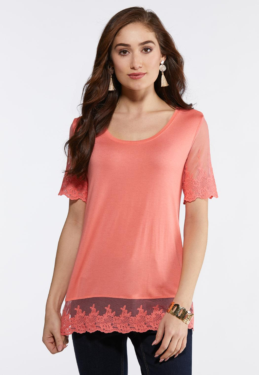 Plus Size Embroidered Mesh Trim Top