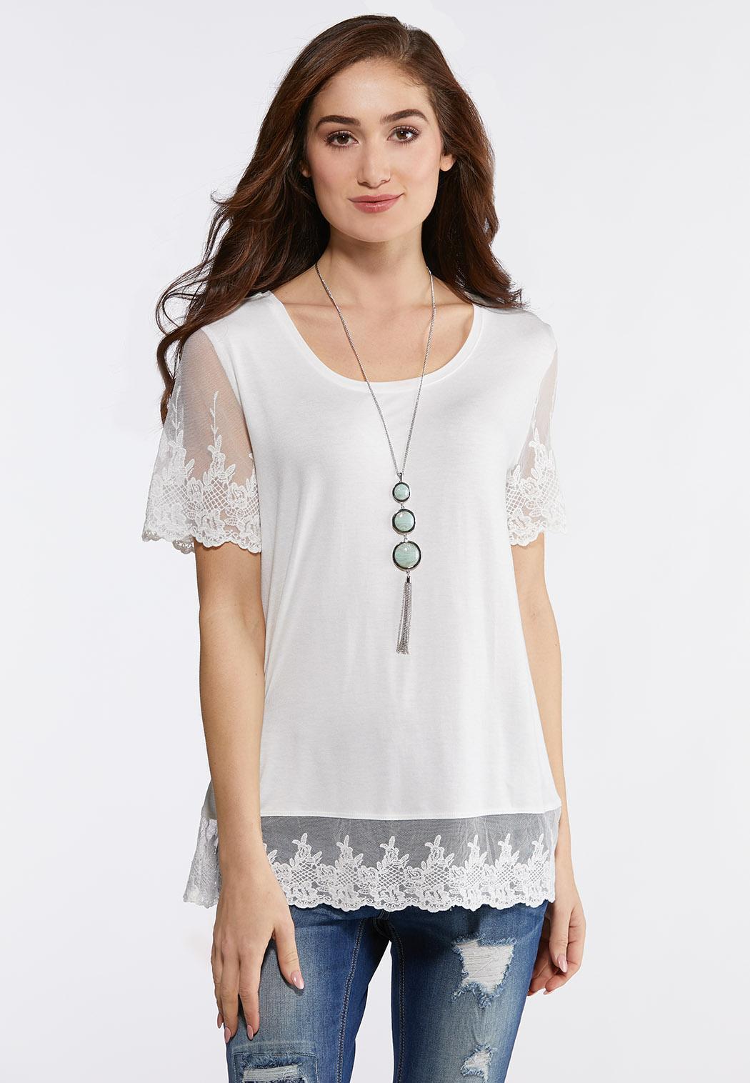 dd316cf90f3 Plus Size Embroidered Mesh Trim Top Tops Cato Fashions