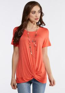 Plus Size Solid Twist Front Tee