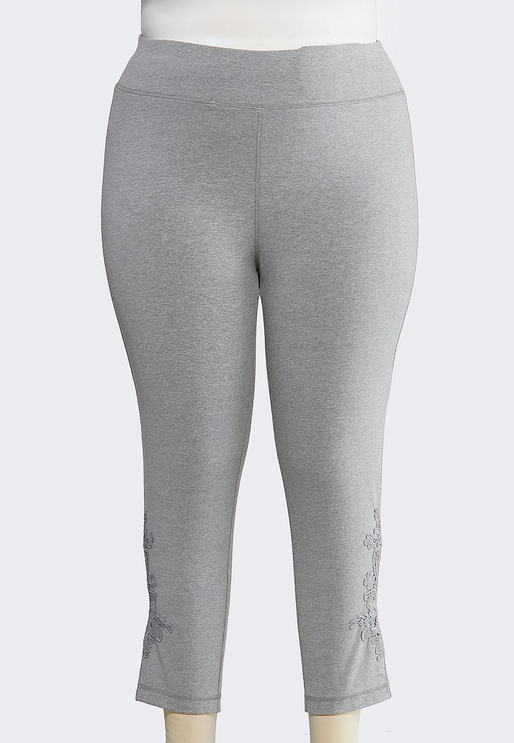 Plus Size Crochet Inset Cropped Leggings