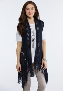 Navy Fringe Sweater Vest