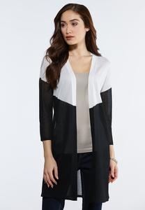 Plus Size Sheer Colorblock Duster Cardigan