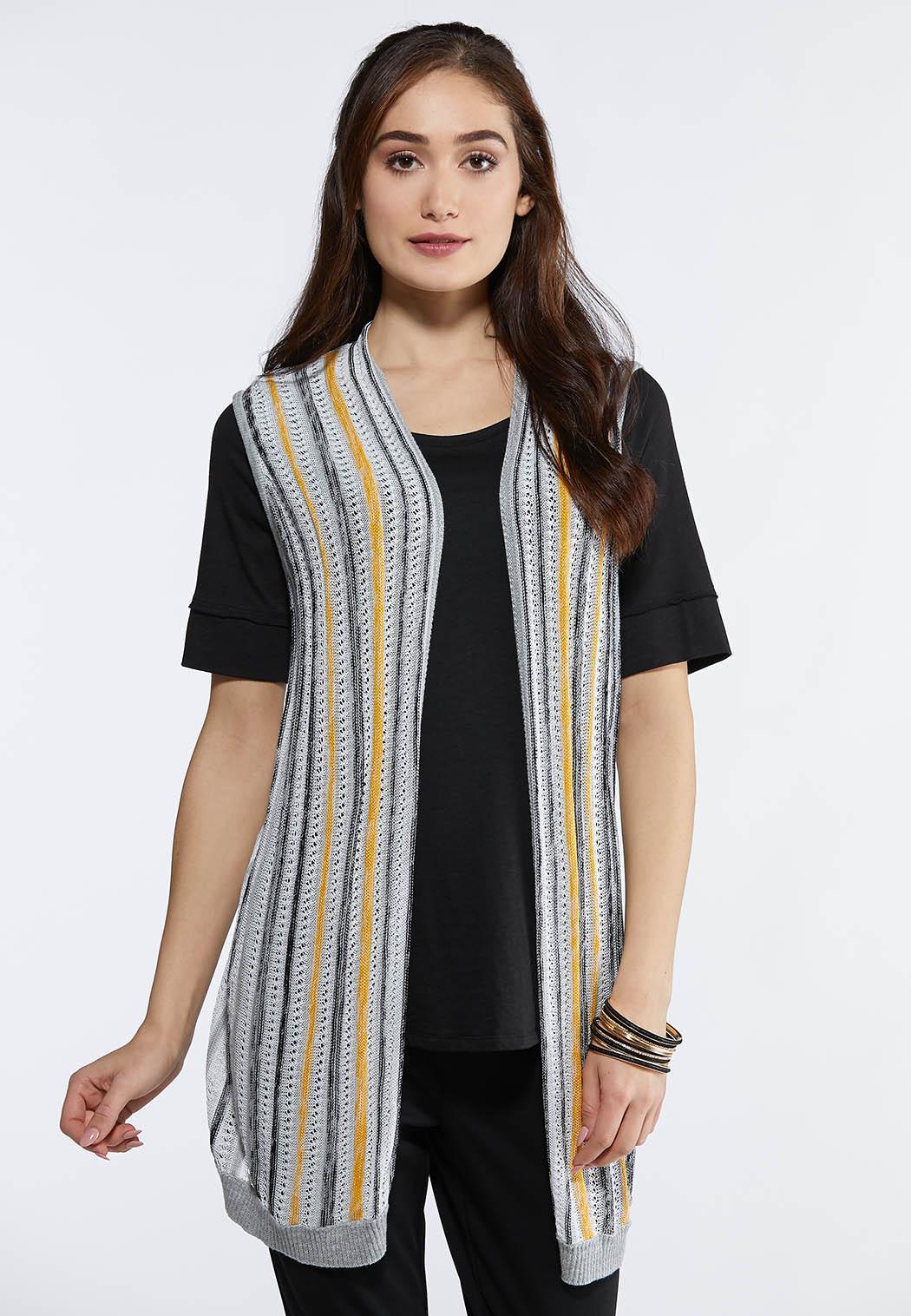 Plus Size Multi Stripe Cardigan Sweater