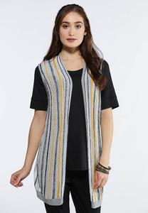 Plus Size Multi Stripe Cardigan Sweater