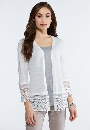 Lace Trim Cardigan Sweater