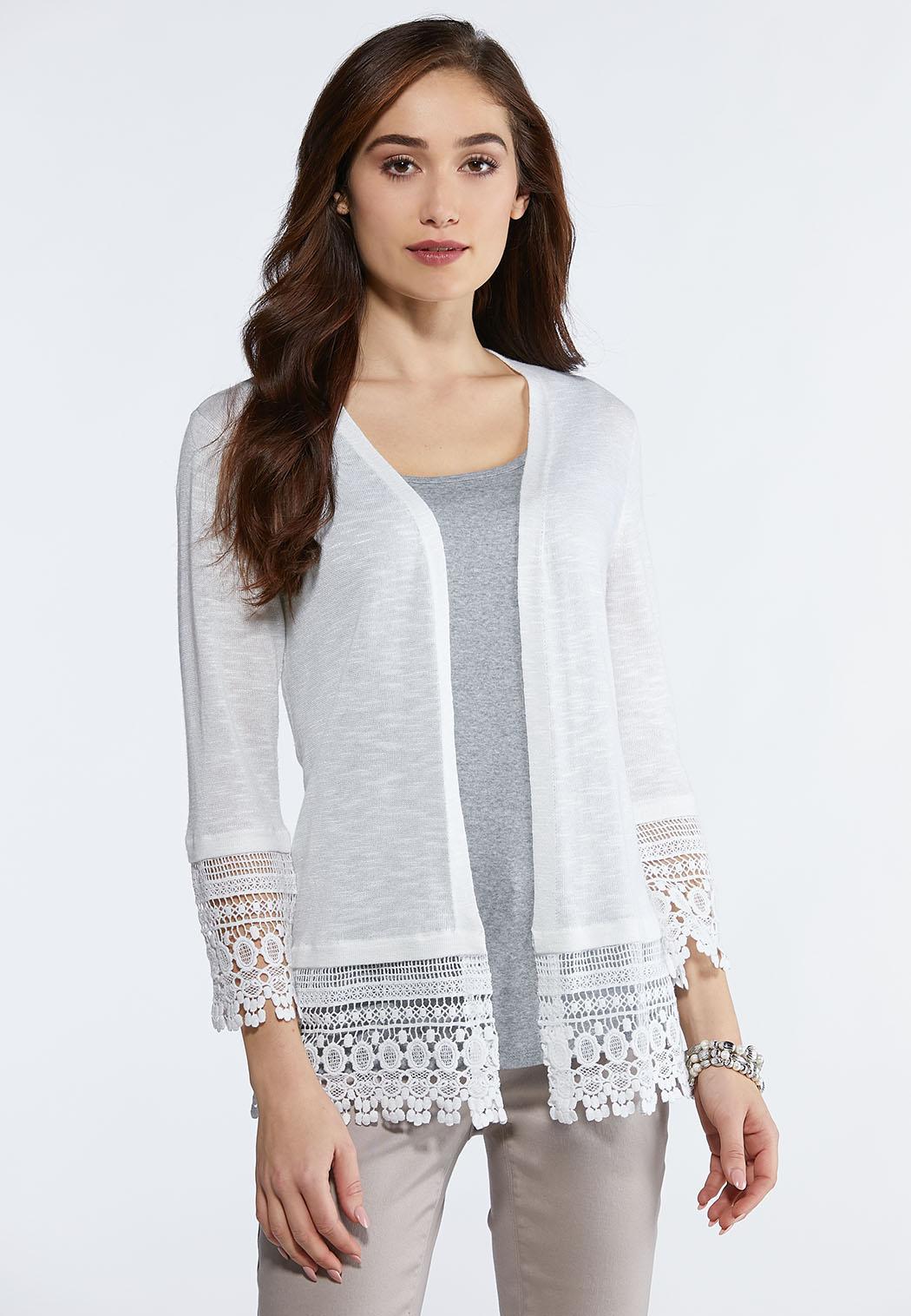 Plus Size Lace Trim Cardigan Sweater