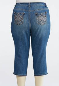 Plus Size Cropped Embellished Skinny Jeans