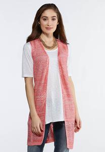 Plus Size Coral Sweater Vest