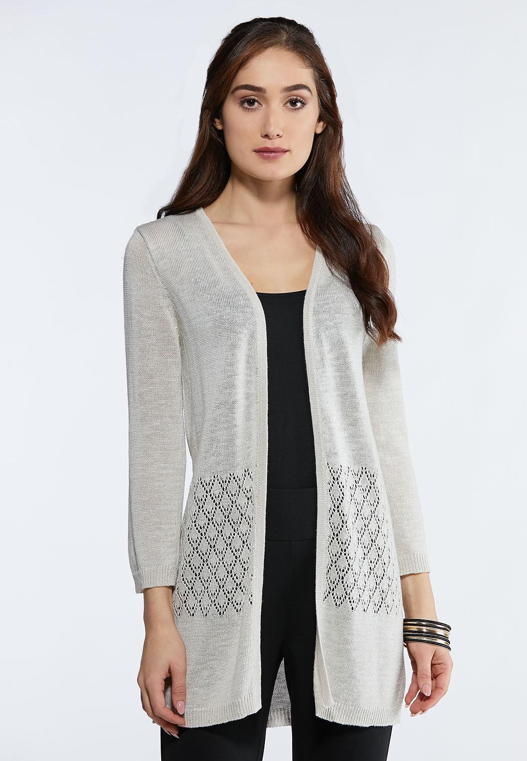 Plus Size Beige Stitch Waist Cardigan