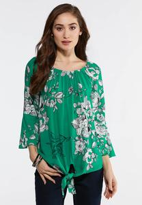 Green Sketch Floral Top