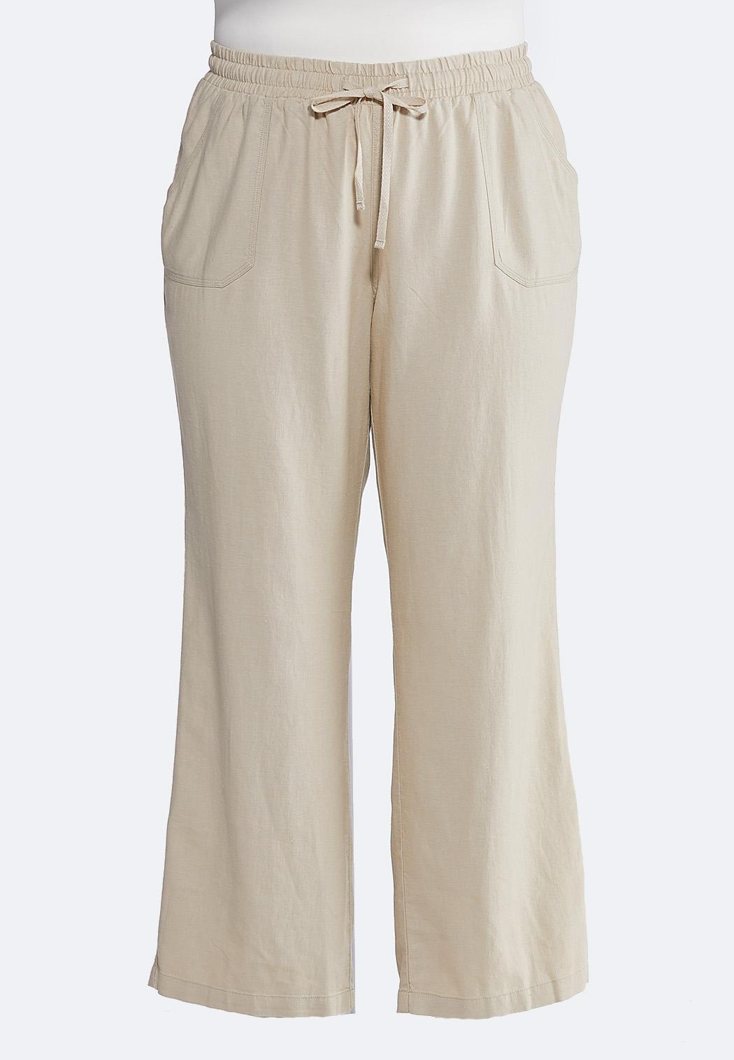 Plus Size Drawstring Linen Pants Pants Cato Fashions