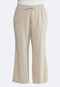 Plus Size Drawstring Linen Pants