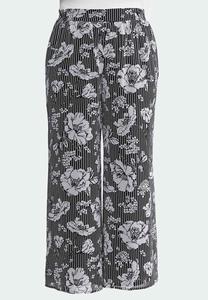 Plus Size Floral Stripe Palazzo Pants