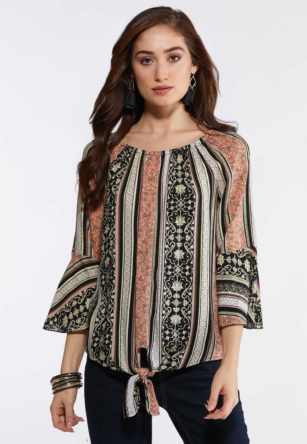 e17f7f68d6d10d Plus Size Earthy Stripe Tie Front Top Shirts   Blouses Cato Fashions