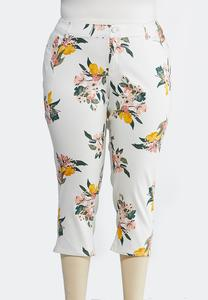 Plus Size Cropped Floral Jeans