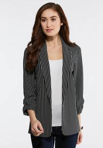 Black White Stripe Blazer