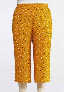 Plus Size Cropped Golden Dot Pants