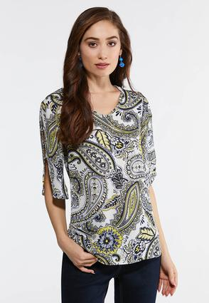Plus Size Embellished Paisley Top