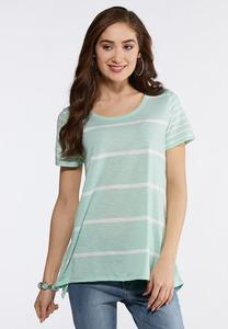 Plus Size Striped High-Low Tee